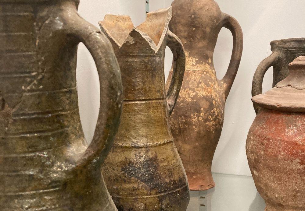 Pottery on shelf