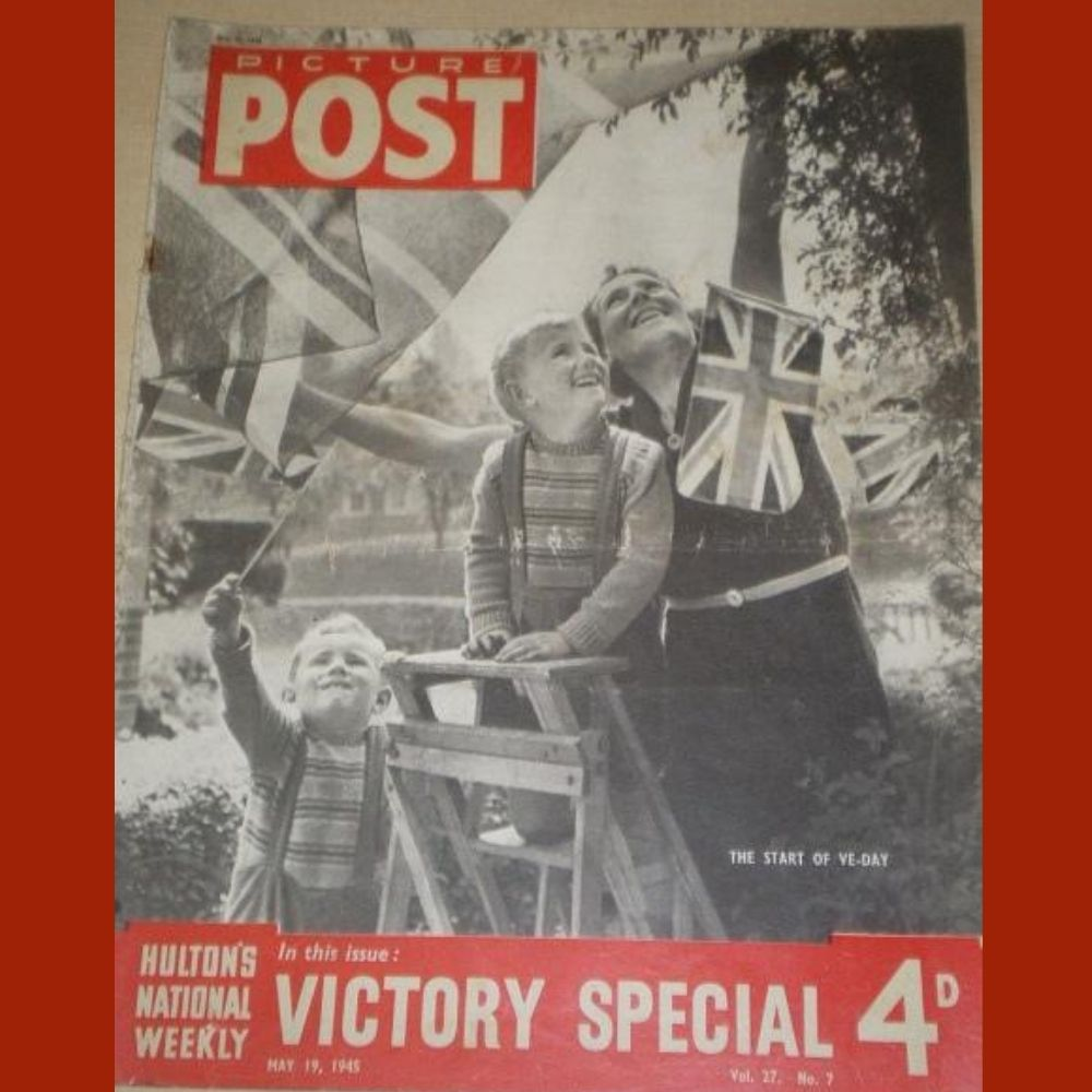 Front cover of the Picture Post magazine with children waving flags