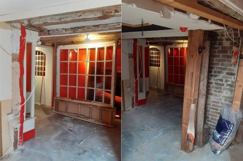 Two photos of the former Albery display in Horsham Museum. The space is bare and the exposed beams and tile floor are in tact