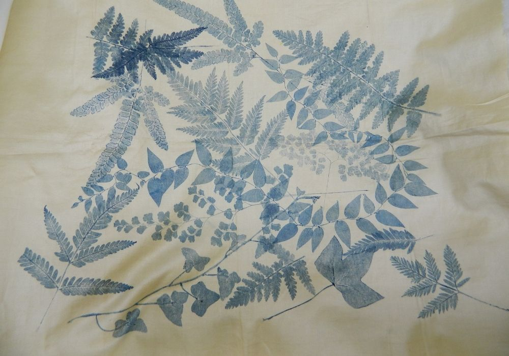 Nature print of leaves, coloured blue