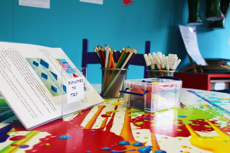 Arts materials and activity sheets on a table in the Children's Art Zone