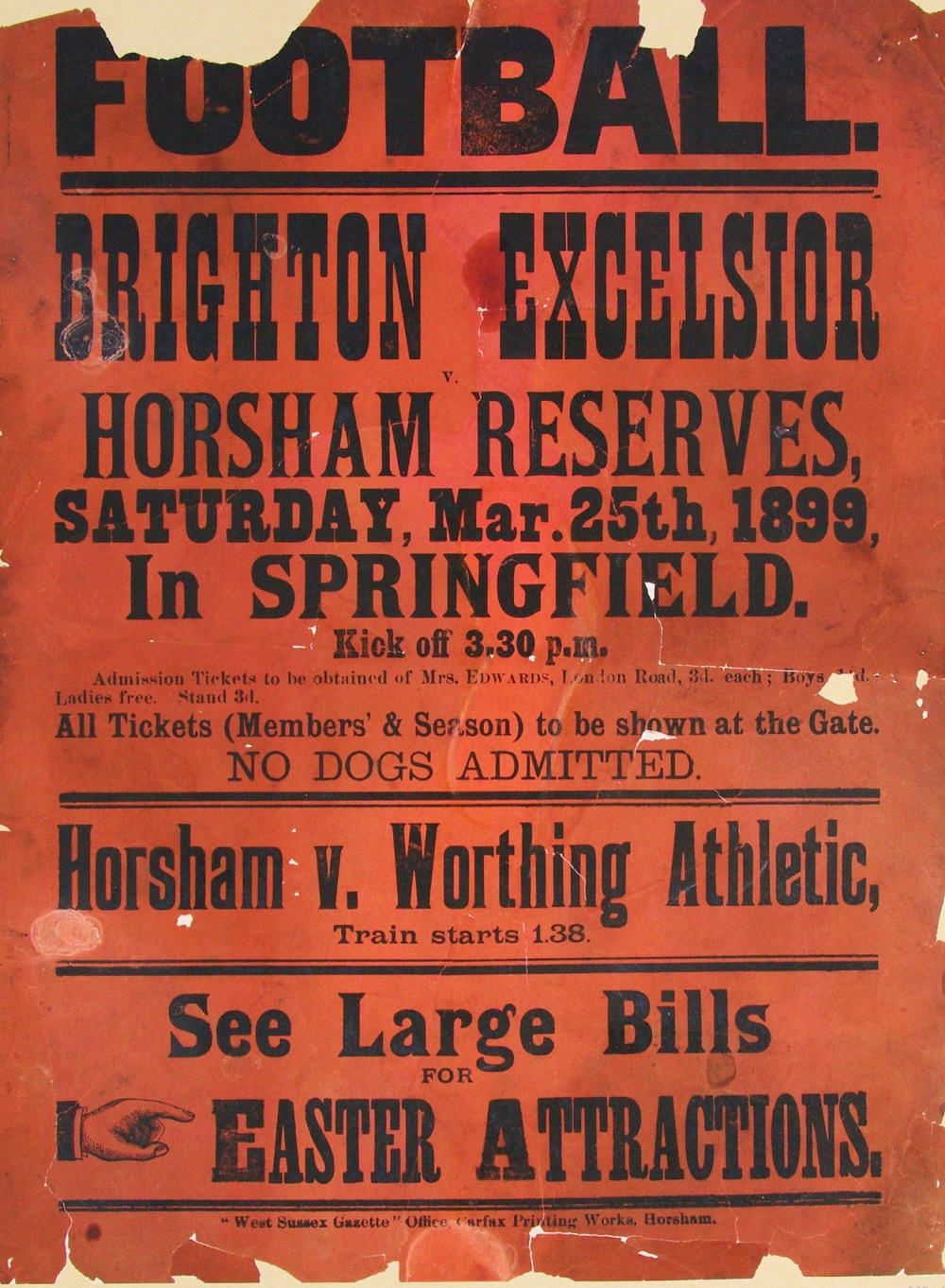 A poster advertising an 1889 game between Brighton Excelsior and Horsham Reserves