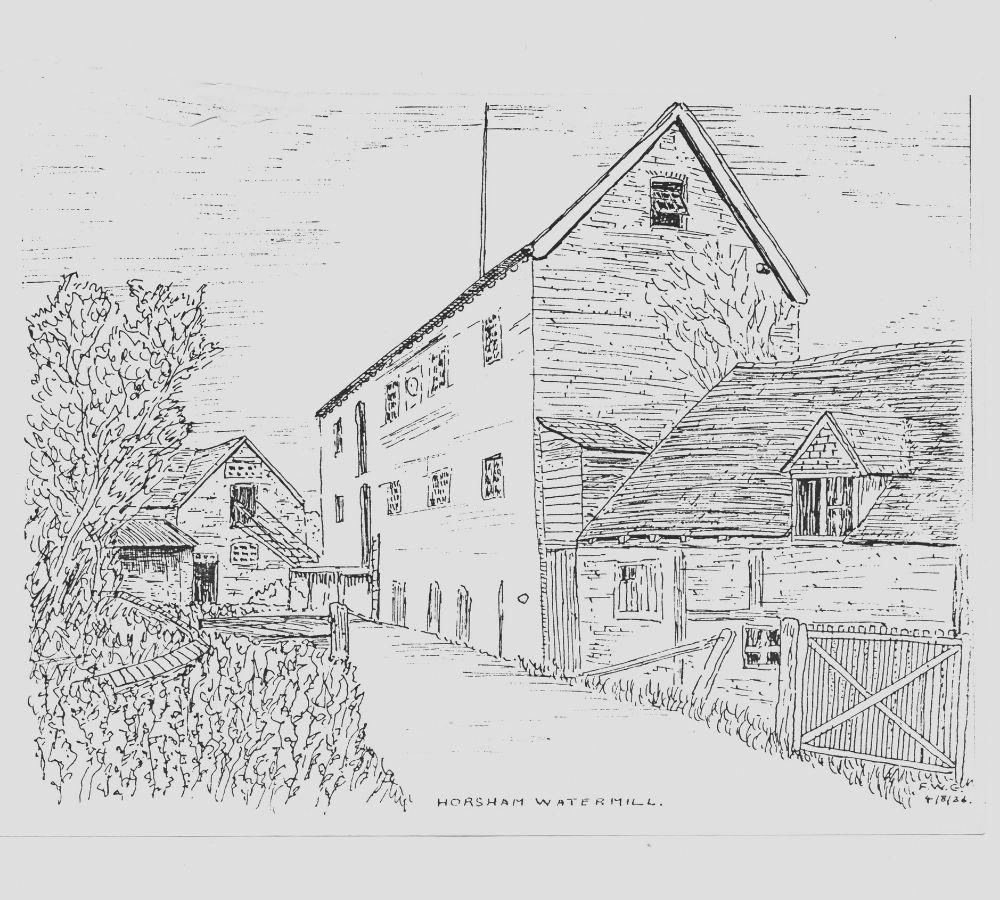 Black and white print depicting Horsham Watermill