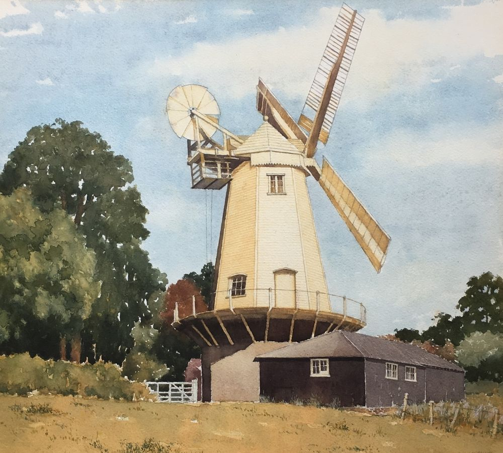 Watercolour painting of a windmill with accompanying barn located in from of a row of trees.