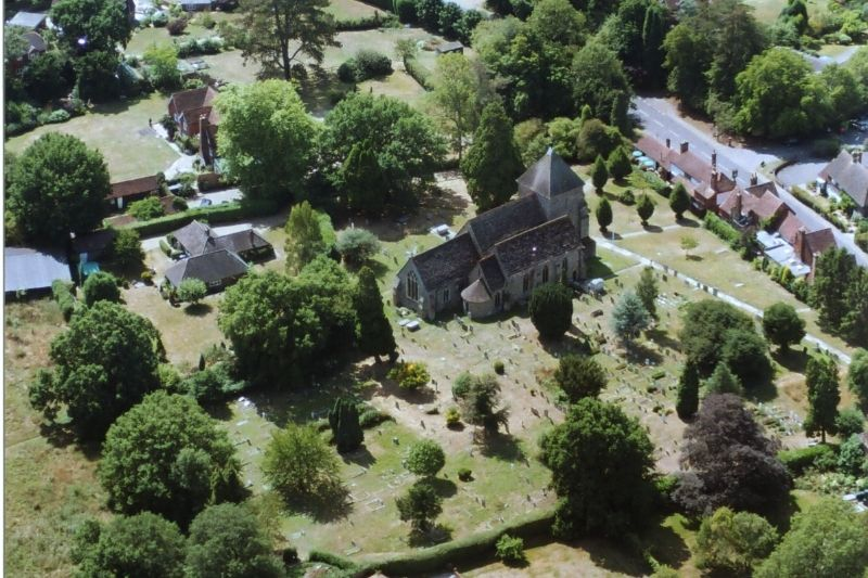 An aerial view of Rudgwick church