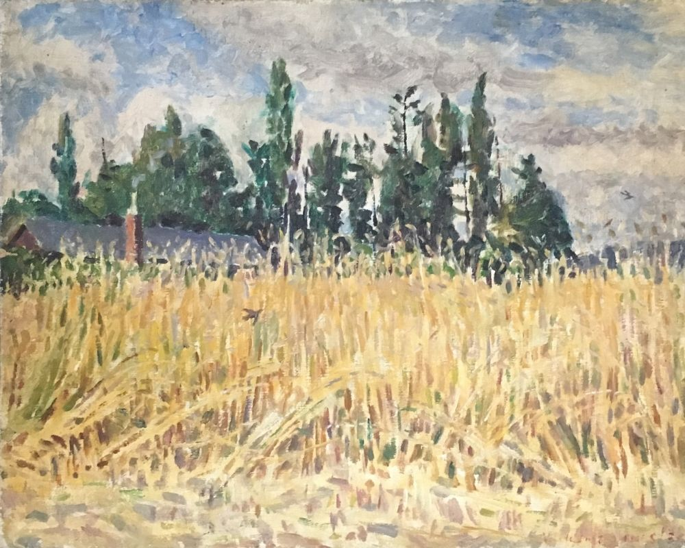 Watercolour painting of a cornfield near Horsham by Vincent Lines.