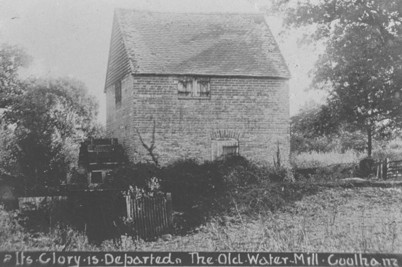 Black and white slide showing the exterior of the Old Watermill