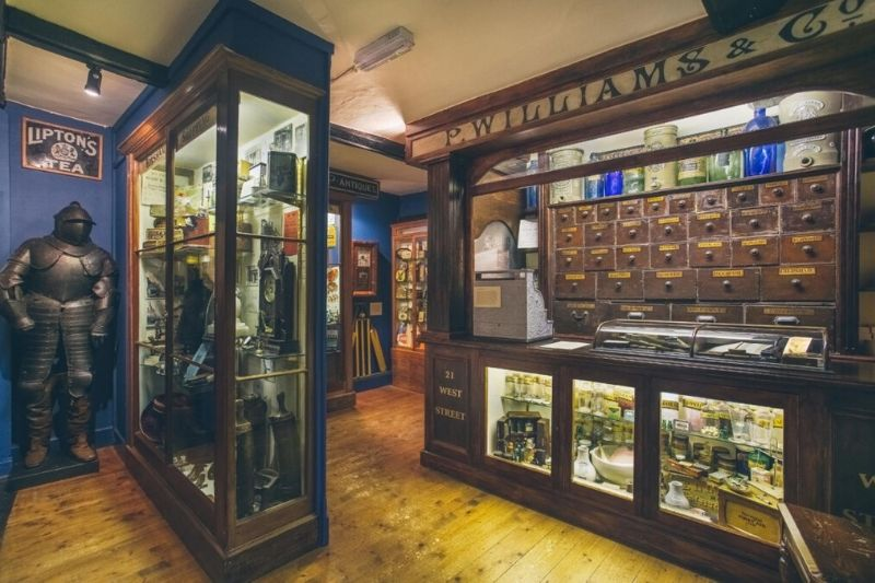 The Williams and Son shop front and drawers in the museum