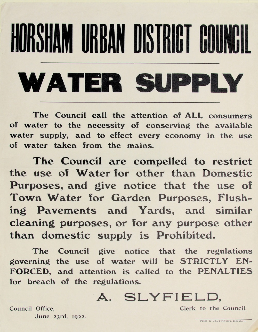 A Horsham Urban District Council notice about the water shortage in 1922