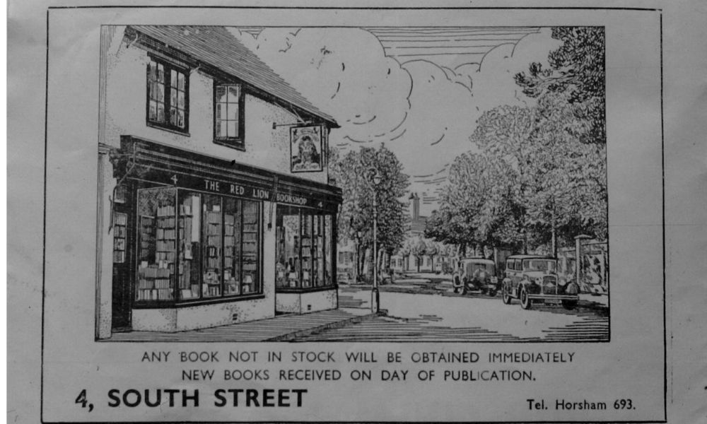 Postcard of South Street and a building in black and white