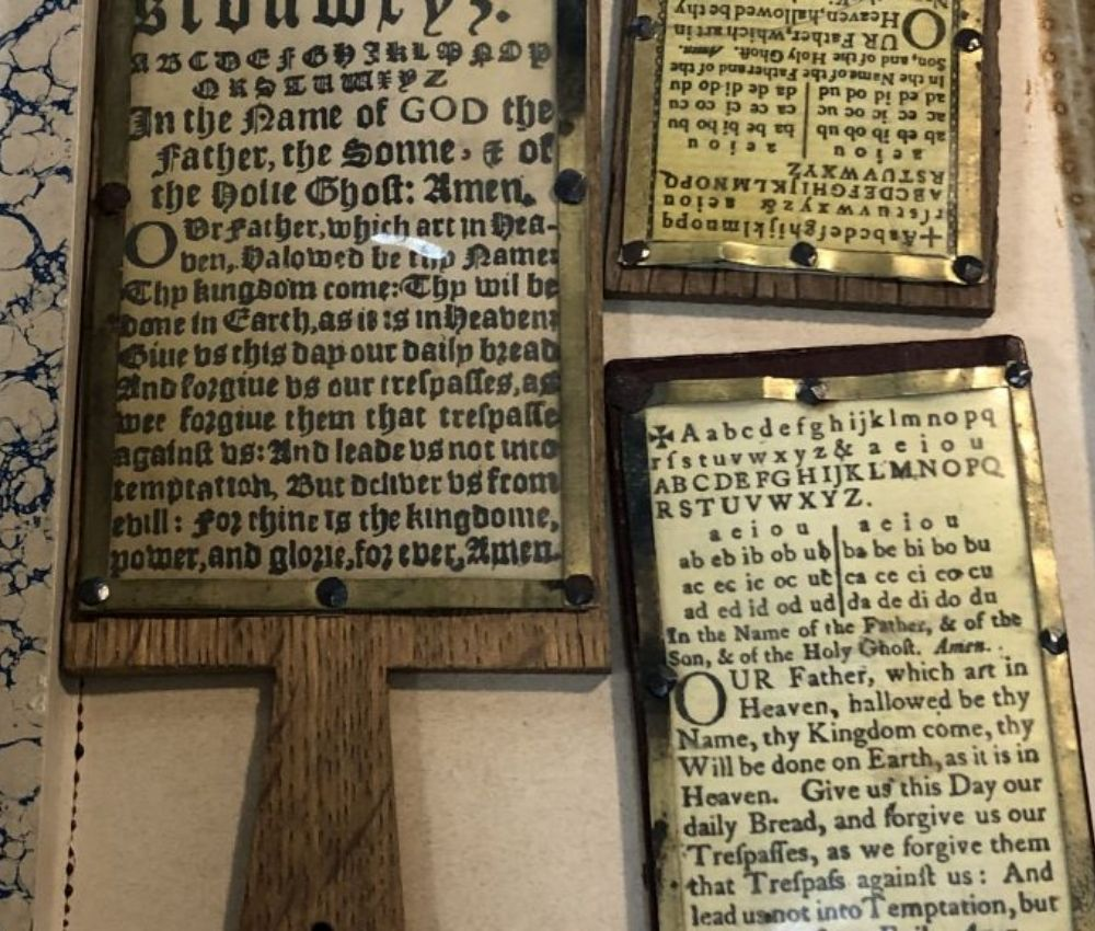 Religious hornbrooks. Paddles with scripture. image copyright Duke University Libraries