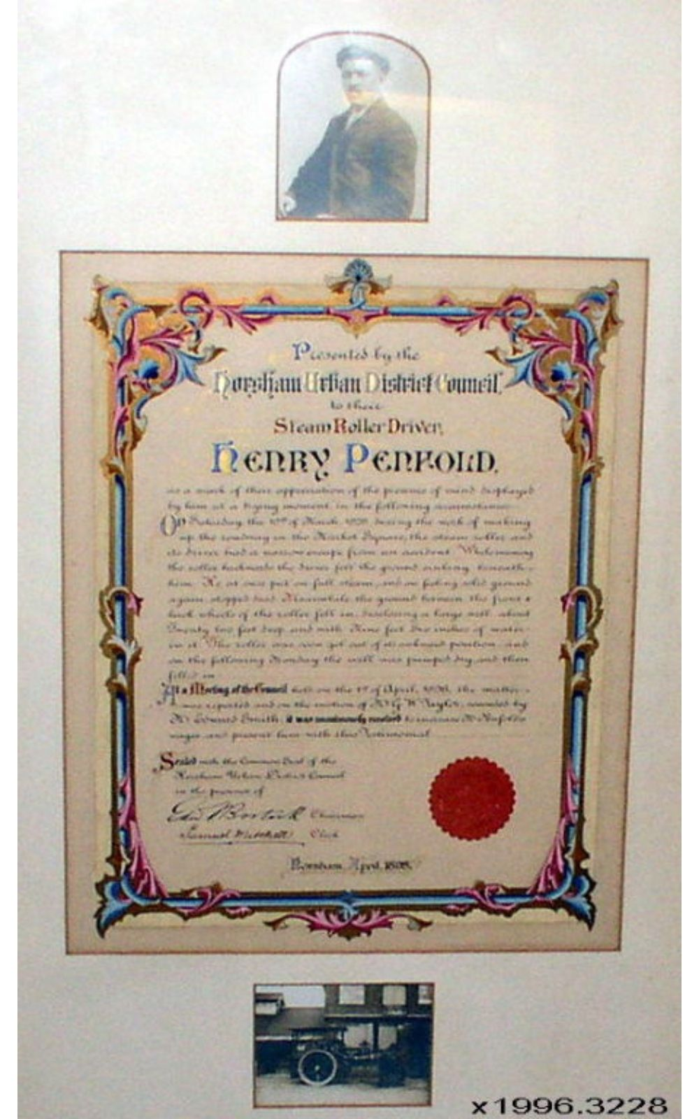 Illiminated Presentation Certificate to Henry Penfold, Steam Roller Driver