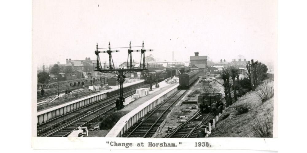 A black and white photo captioned Change at Horsham 1938