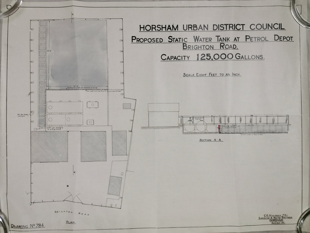 "Plans for proposed static water tank at Petrol Depot, Brighton Road; 1"" to 8 ft, 1941."