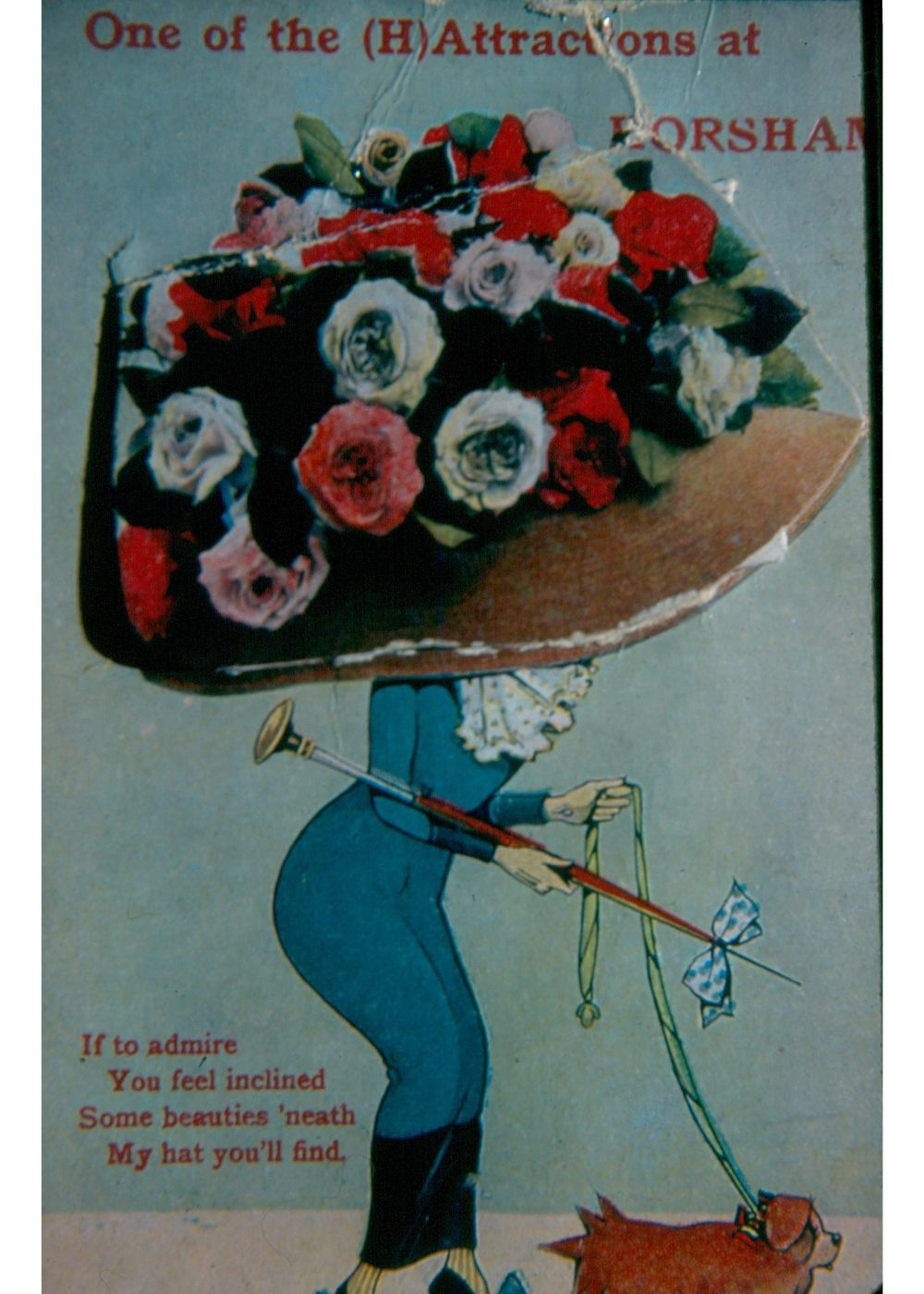 Colour postcard of a woman walking her dog. The woman is wearing an enormous hat covered in flowers.