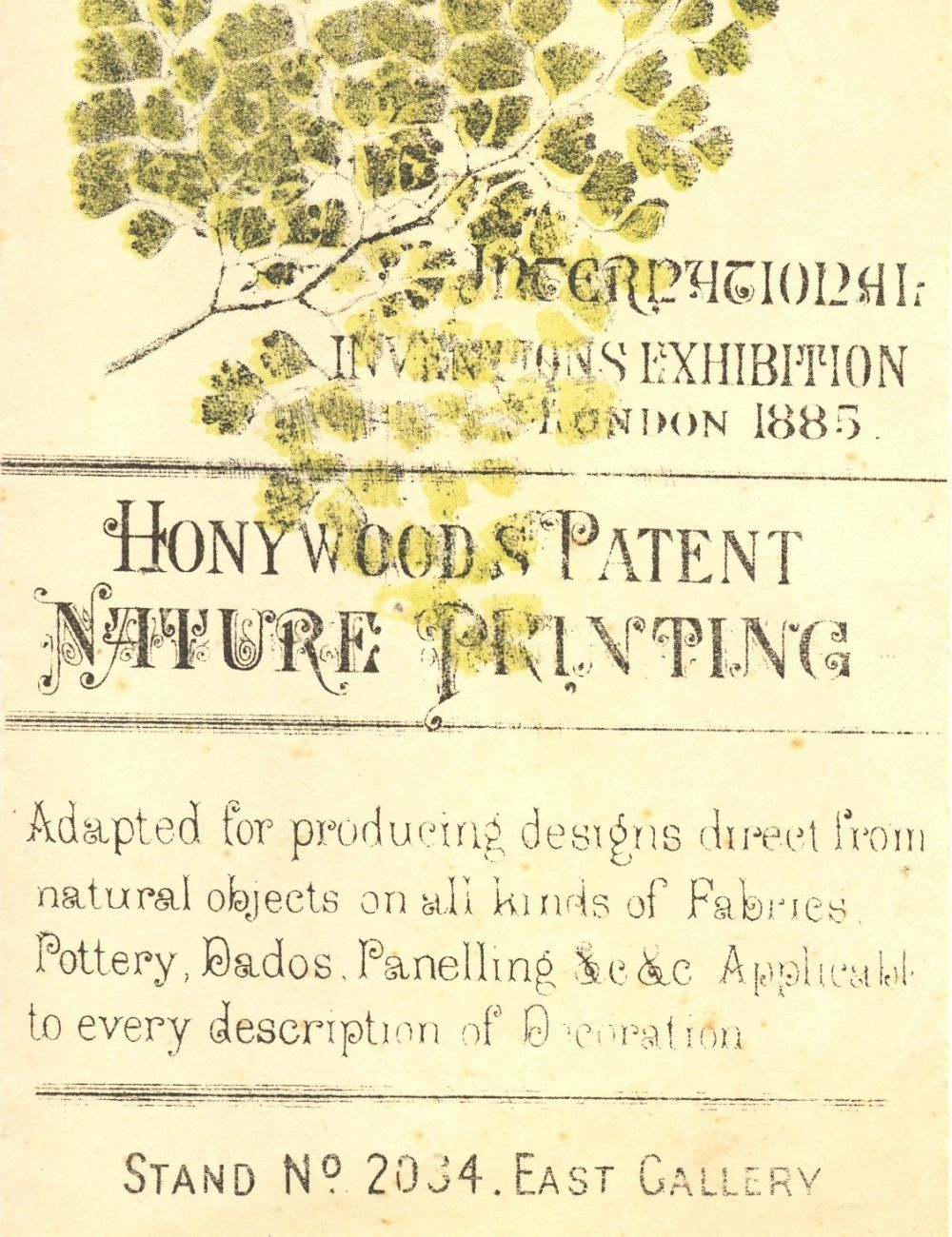 Flyer for Honywood's nature printing