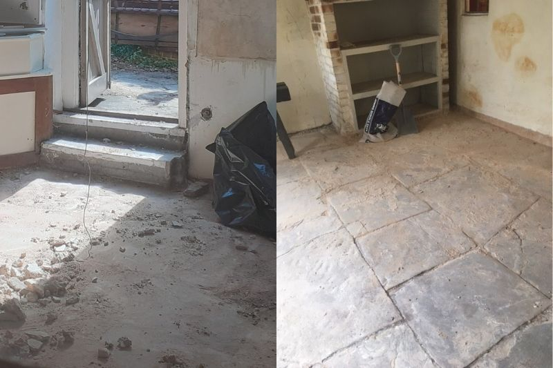 A before image on the left shows the cement flooring. On the right is the original flagstone, revealed after laying hidden for 50 years