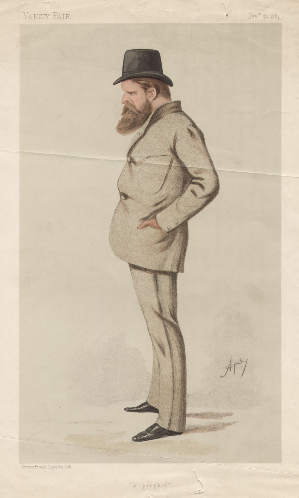 Caricature of Blunt in Vanity Fair Magazine, signed by Ape. Colour image a middle aged man with a moustache and beard, wearing a light coloured suit, smart shoes and a hat.