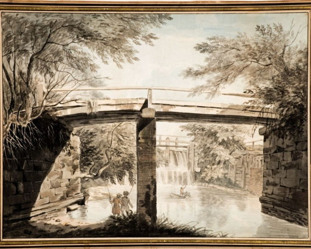 Watercolour in muted tones showing two figures under a bridge. The figures are fishing in a river