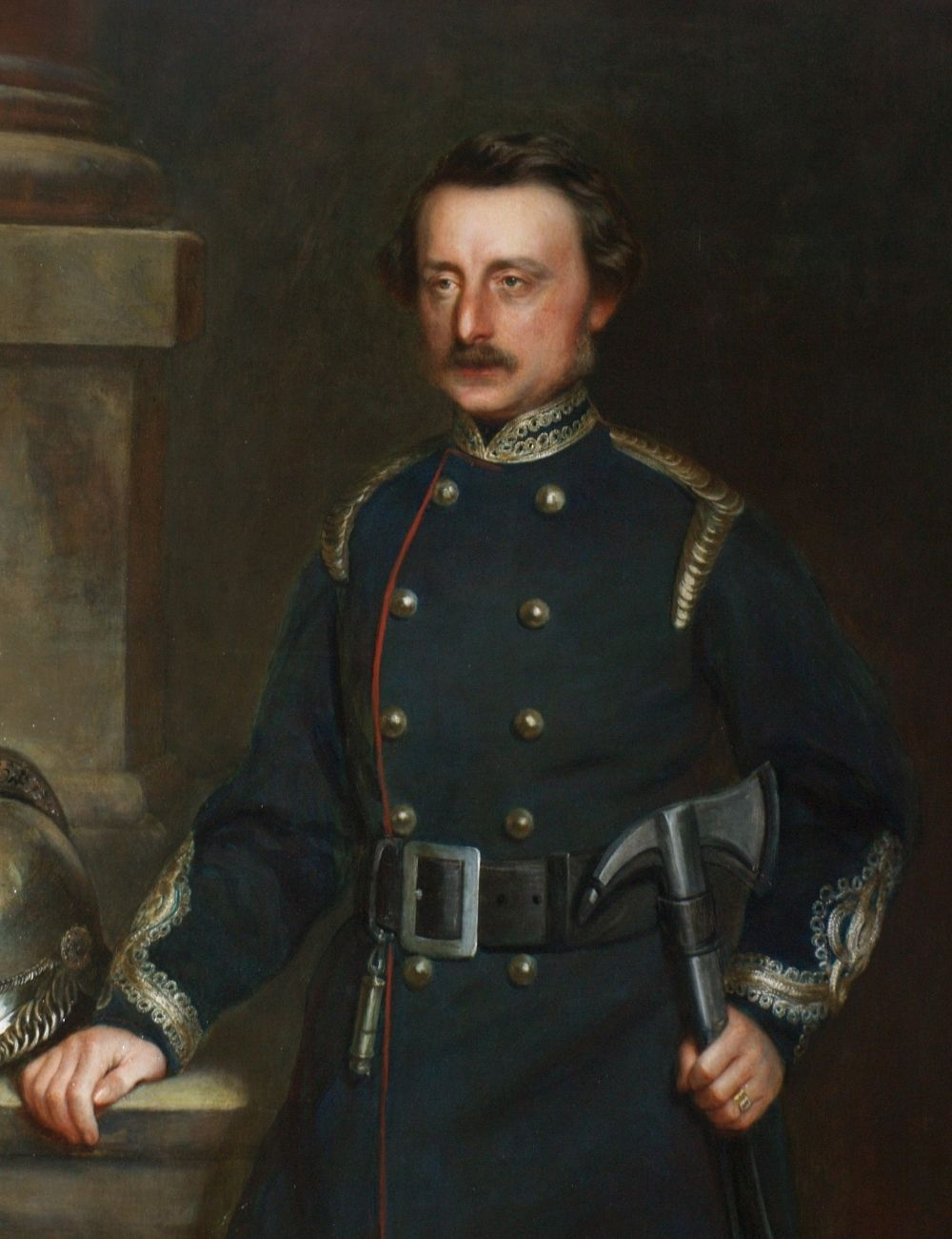 Oil portrait of Honywood in his Fire Brigade uniform