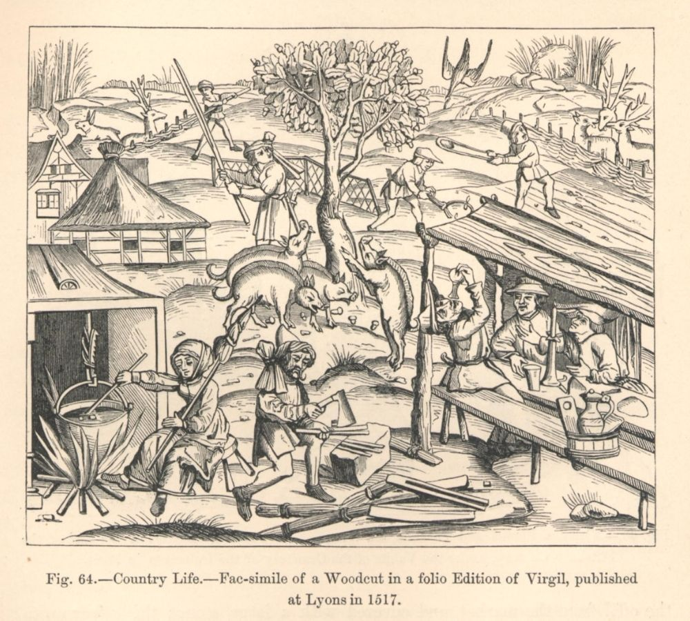 16th century woodcut showing people farming, cutting wood, cooking, and eating.
