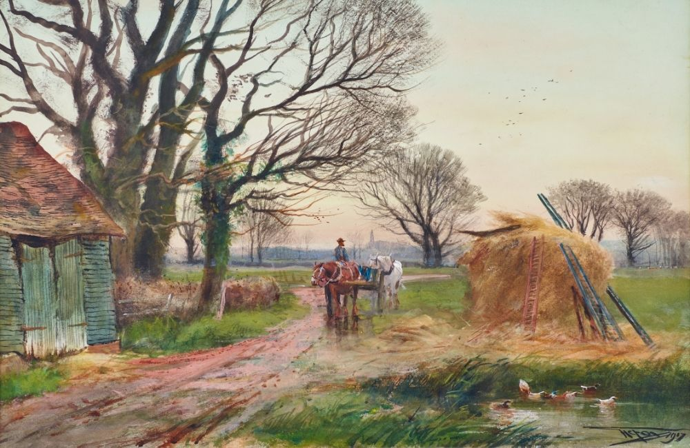 Watercolour painting of Horse and cart by a hayrick.
