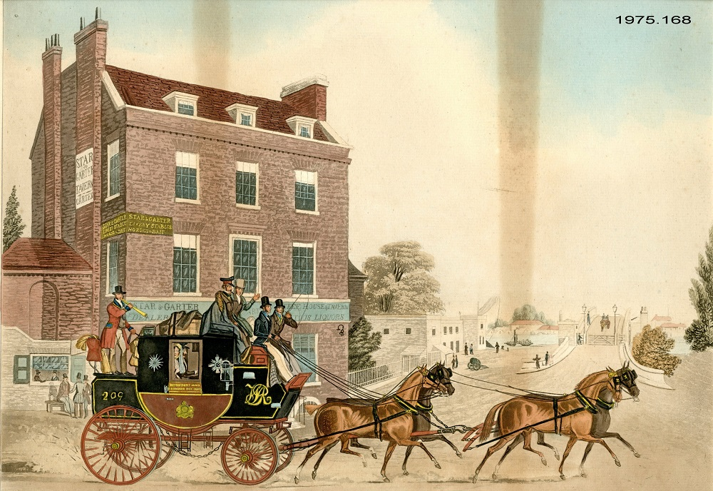 Picture of a mail carriage and horses