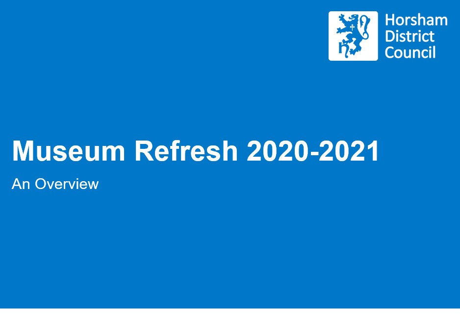 White text on blue background reads Museum Refresh 2020-2021 An Overview