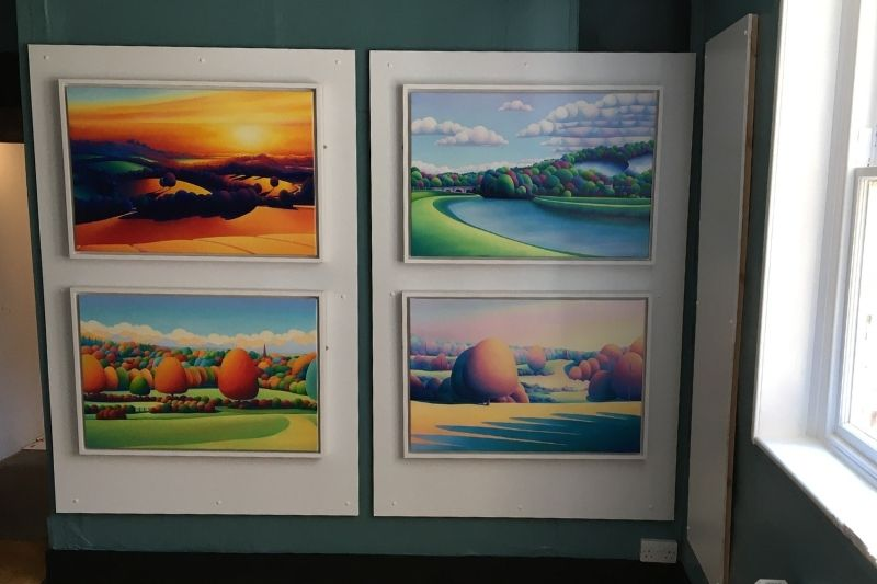 Four paintings by Sarah Duffield in the Discover the District gallery. Duffield has a bright colourful style and depicts countryside scenes across Horsham District