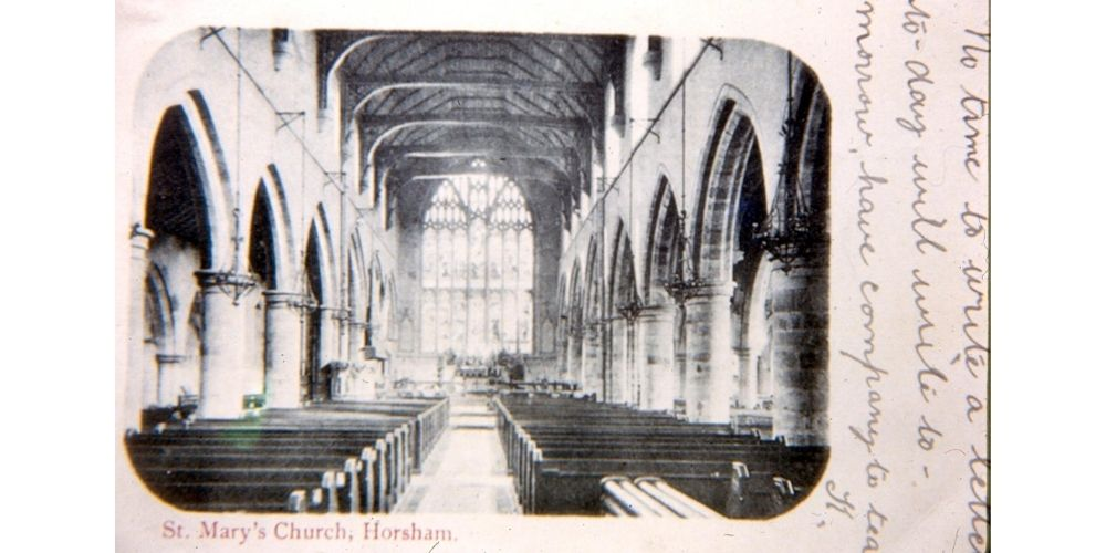 Postcard of the interior of St Mary's Church, Horsham.