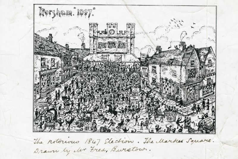 A cartoon depicting Horsham's busy market square during the 1847 election period. Lots of people are holding placards and the town hall clock is clearly visible.