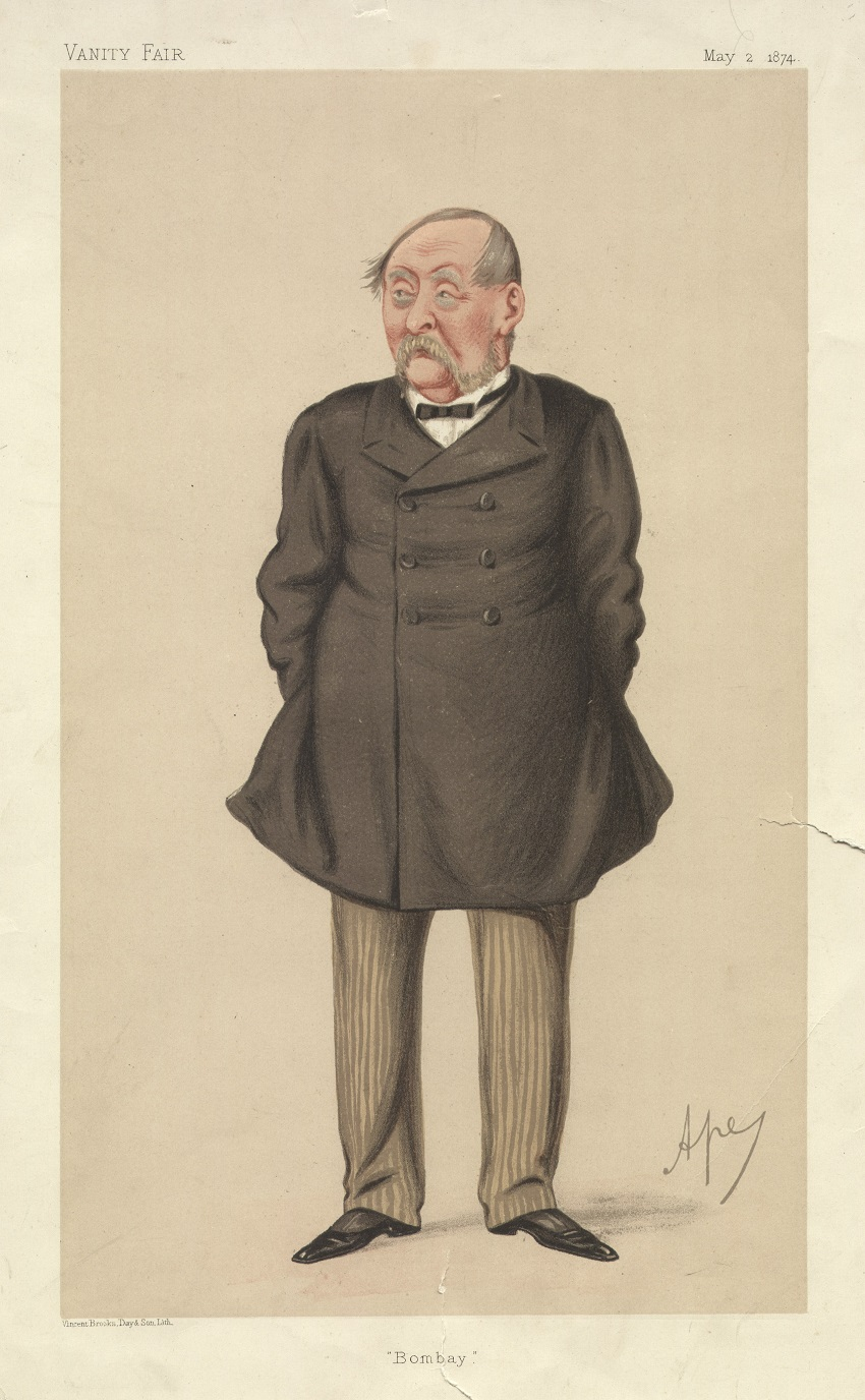 A portrait of Fitgerald dated 1874. He wears pinstriped trousers, a white shirt and black tie and a double-breasted formal black coat. He has a large grey moustache.