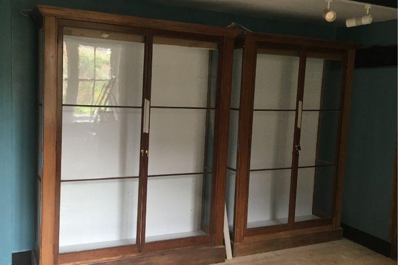 A pair of refurbished 1920s ex V&A mahogany cases