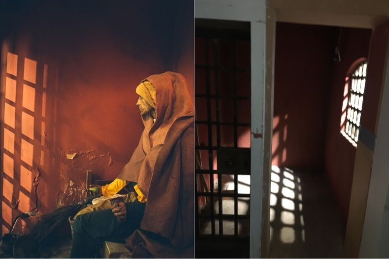 The prisoner in his cell, and the empty cell with the door open