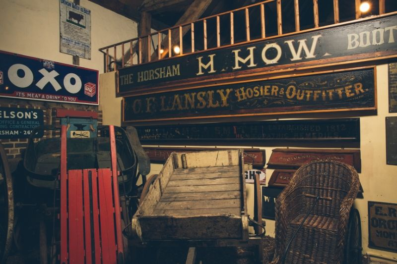 Vintage signage and wooden carts