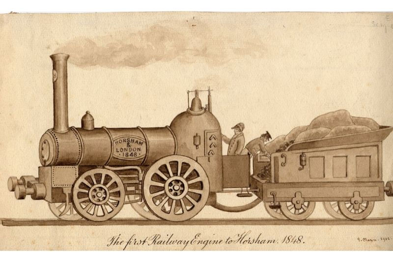 Artwork of a train with the caption 'The first Railway Engine to Horsham 1848'