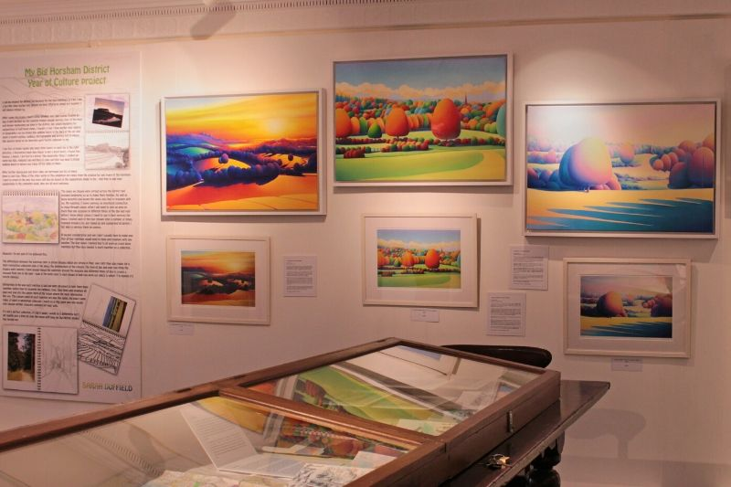 An exhibition of local artist Sarah Duffield's colourful pieces