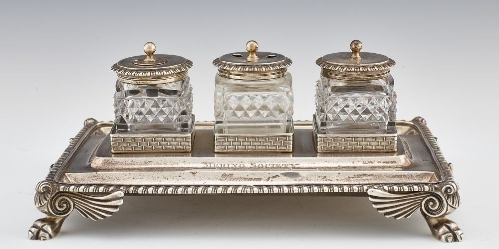 A Georgian silver and glass ink set that was given as a prize in 1804.